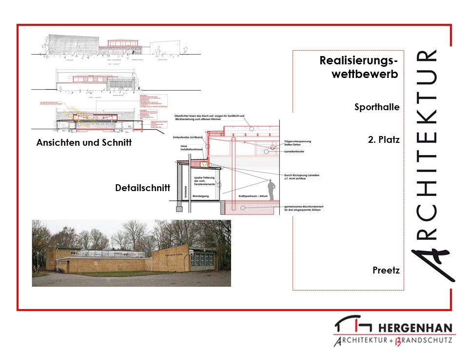Architektenzeichnung einer Sporthalle in Preetz